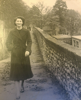 Chris Butler's mother walking to work on East Walls aged 19