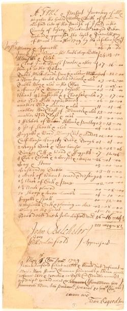 Inventory - John Linfield 1729 (Ep I-29-109-5)