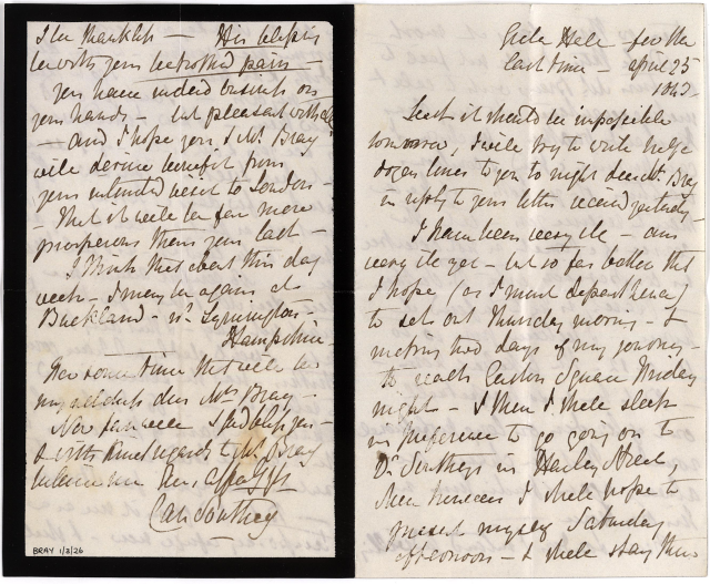 bray-1-3-26r-letter-from-caroline-southey-to-anna-eliza-bray-including-reference-to-death-of-robert-southey-25-apr-1843