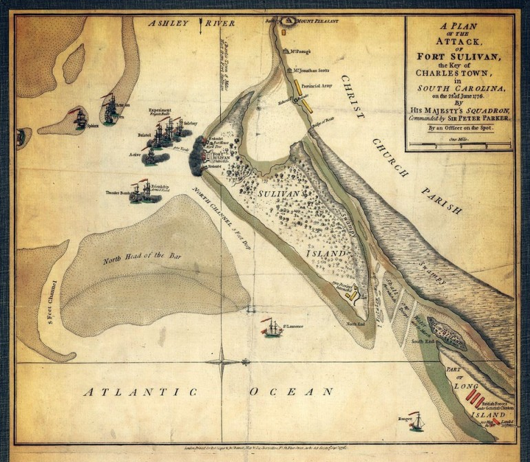 Sullivan Island Attack Map 1776 includes Long Island