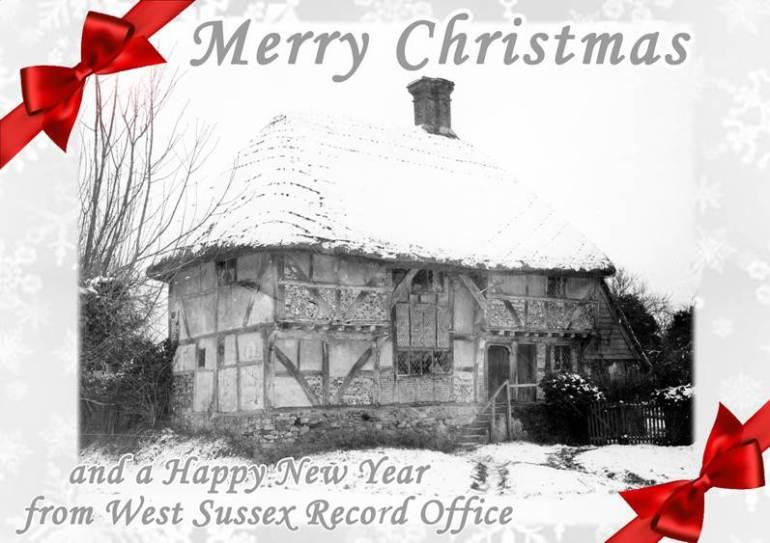 Christmas Card 2017 - Bignor Old Shop 1940 Garland N19052