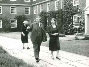Miss Murray outside New Hall