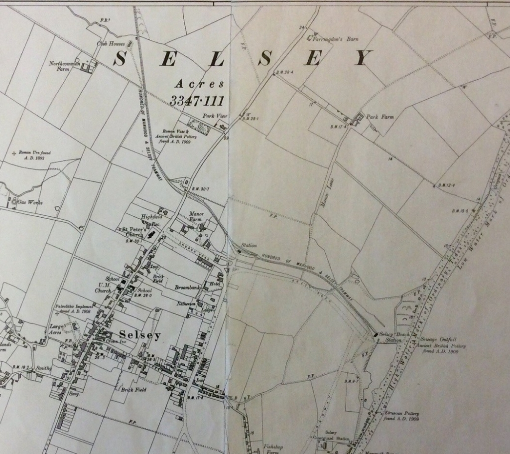 "Two sections of the 6"" 1911 edition O.S. Map for Selsey, with the tram/rail line running through the upper middle to the coats."