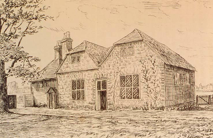 Ifield Meeting House, drawing taken from Some Records of the Early Friends in Surrey and Sussex by T.W. Marsh (1886)