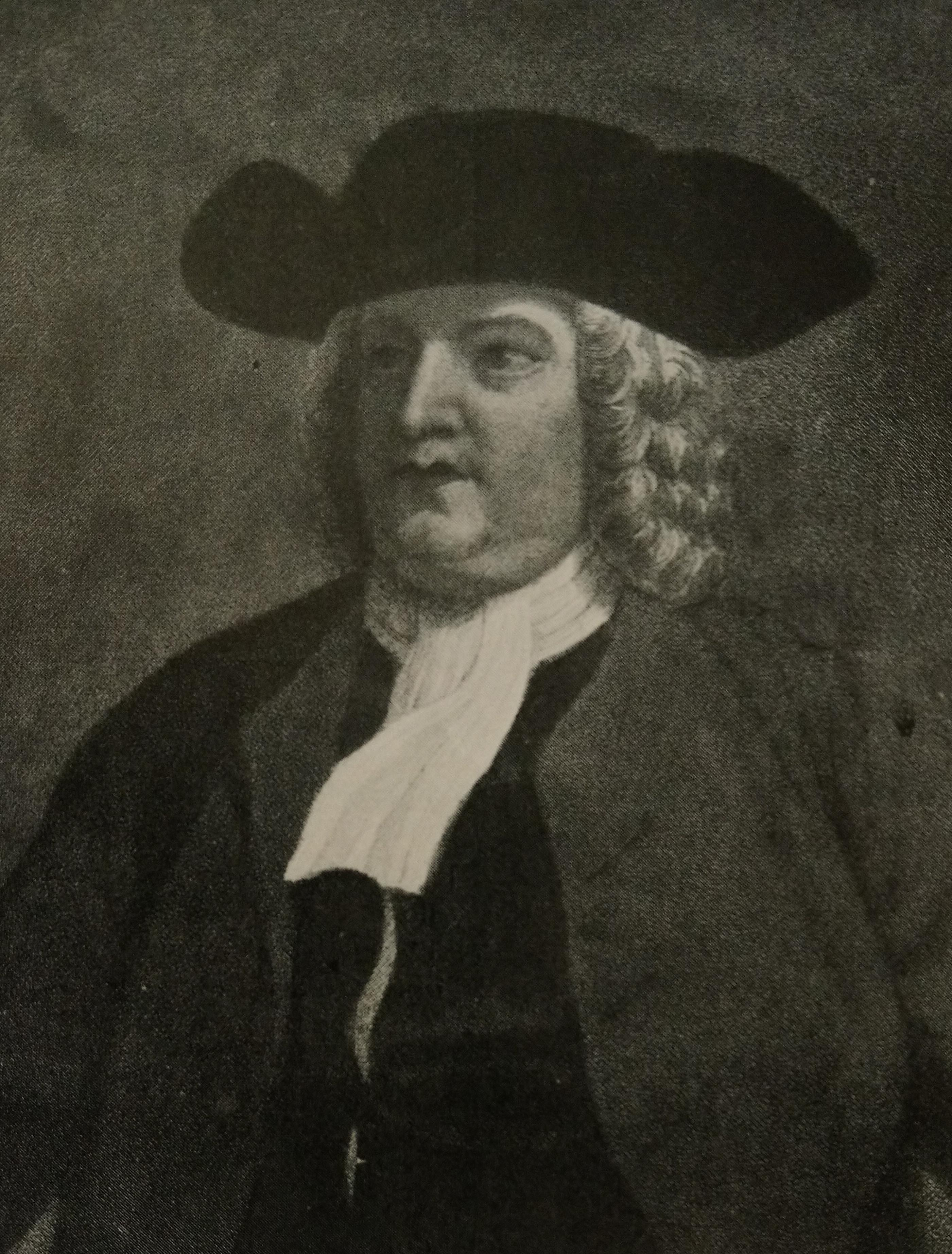 Copy of image of William Penn, wearing a black tricorner hat, white wig and simple 17th Century clothing