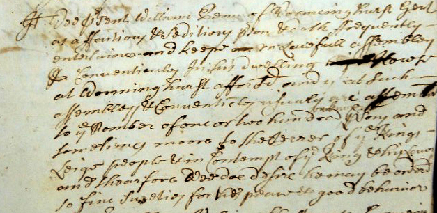 Extract of entry from the Arundal Quarter Sessions of 1685 detailing William Penn's accusations