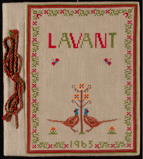 Cross-stitched scrapbook by Lavant WI. Making scrapbooks was a popular activity for the WI.