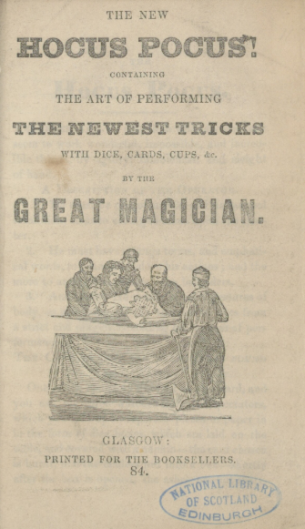 An example of a chapbook called The Newest Tricks and shows a group of people gathered around a table.