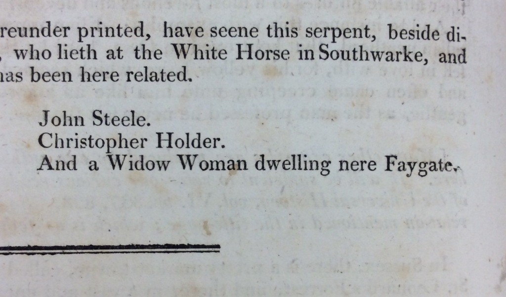 Printed list of three witnesses who reportedly saw the serpent in St Leonard's Forest.