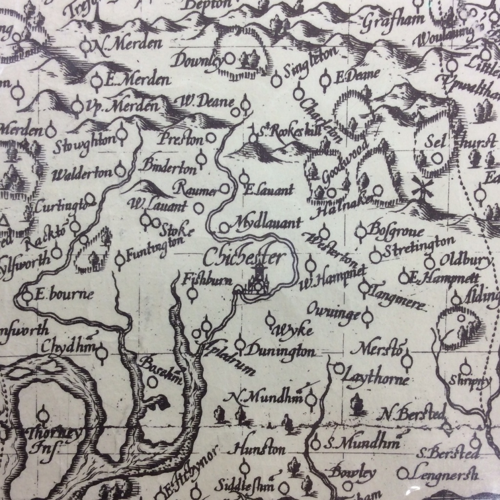 Large black and white map of West Sussex zoomed in on Chichester.