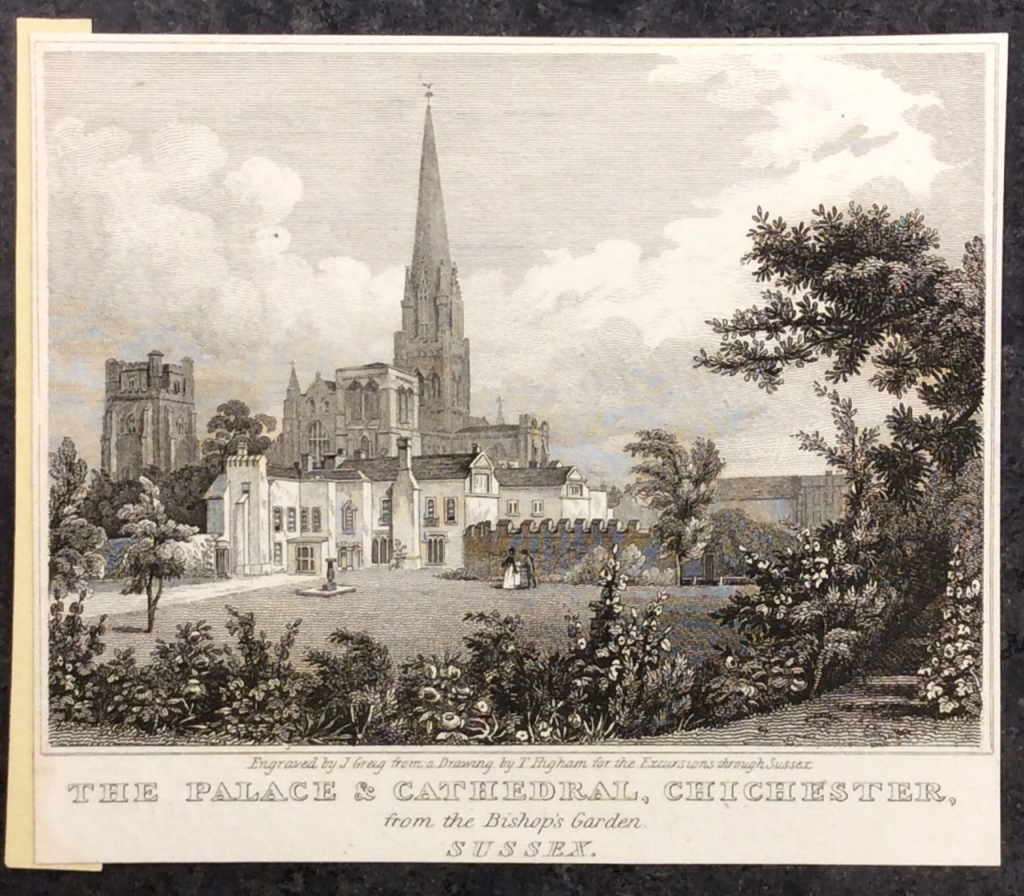 Black and white engraving of Bishop's Palace and Chichester Cathedral.