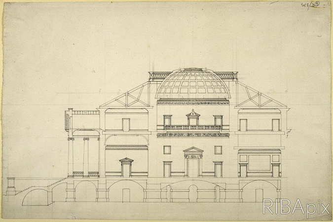 Transverse drawing of a proposed structure for Goodwood House. Drawn in black and white, the structure has a large dome as a centre point, and classical doorways and columns, as well as a grand staircase to the front entrance of the house.