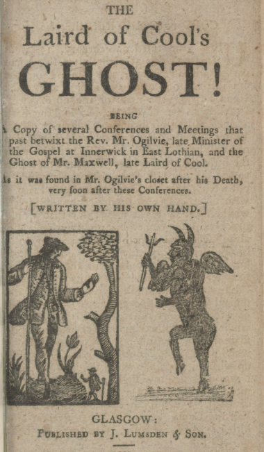 Example of a chapbook called The Laird of Cool's Ghost which shows a man and a devil like figure.