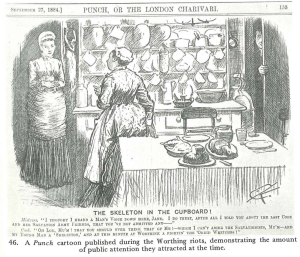 Punch cartoon depicting a maid hiding a Salvation Army man from her employer, showing how unsympathetic people were to the SA cause.