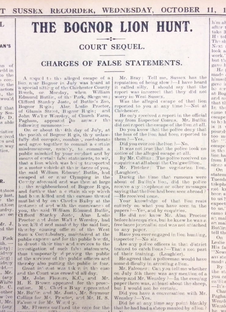 Image of a newspaper article about the court trial