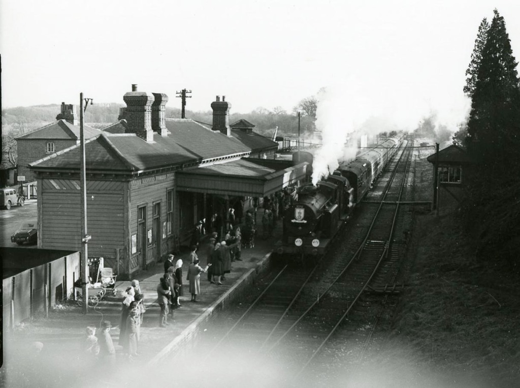 An old black and white image of a steam train at Petworth Station.