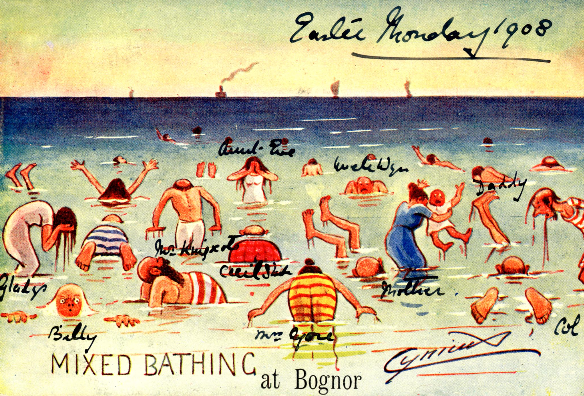 Illustration of people bathing in the sea