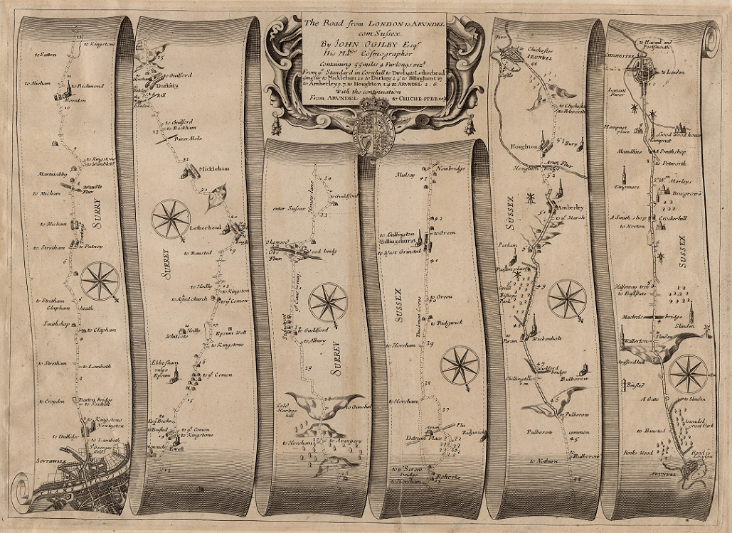 The map is designed like a ribbon, following a path from London to Chichester. It features little drawings of the towns and cities and the ocassional landmark, but is otherwise depicting a sort of straight line path between the two cities.