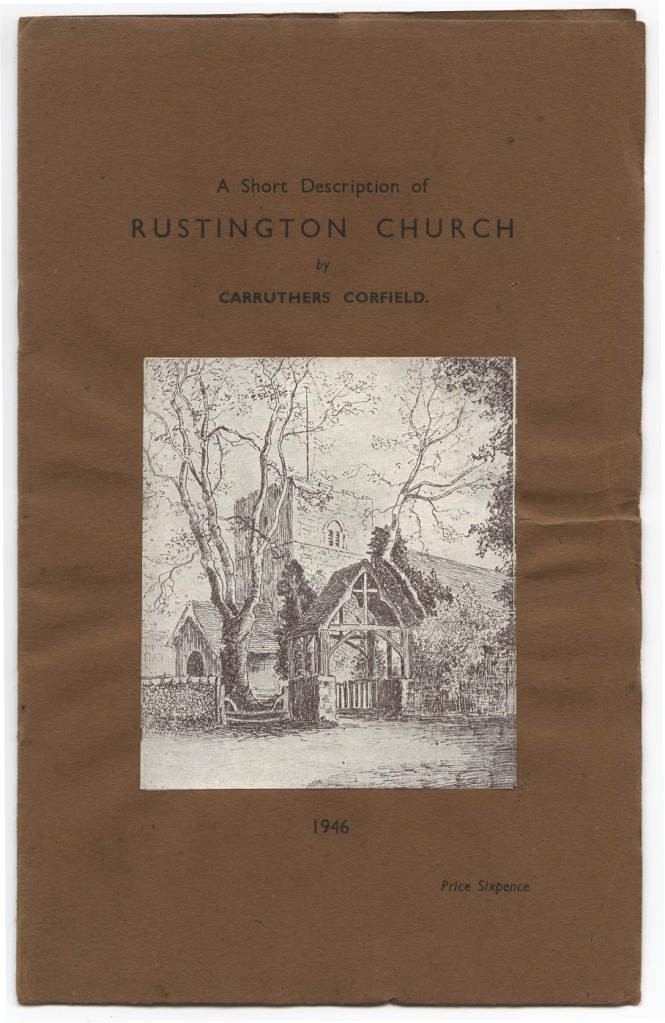 Entitled 'A Short Description of Rustington Church', illustrated with a pencil sketch of the lychgate and church