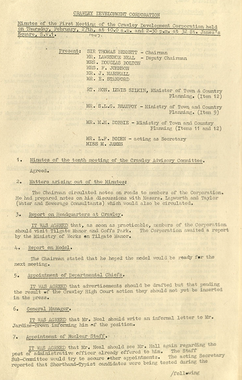 Typed text including the headings: Present; Minutes of the tenth meeting of the Crawley Committee; Matters arising out of the minutes; Report on Headquarters at Crawley; Report on Model; Appointment of Departmental Chiefs, General Managers, and Nuclear Staff