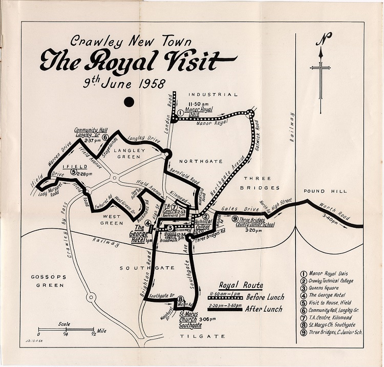 Route shown takes the Queen and Prince Phillip from Manor Royal Dais, Crawley Technical College, Queens Square, The George Hotel, Visit the House in Ifield, Community Hall in Langley, TA Centre, St Mary's Church in Southgate, and Three Bridges Junior School