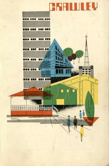 Abstract art showing new buildings in Crawley, including the new shopping centre, a housing tower block, holy trinity church, and other buildings.