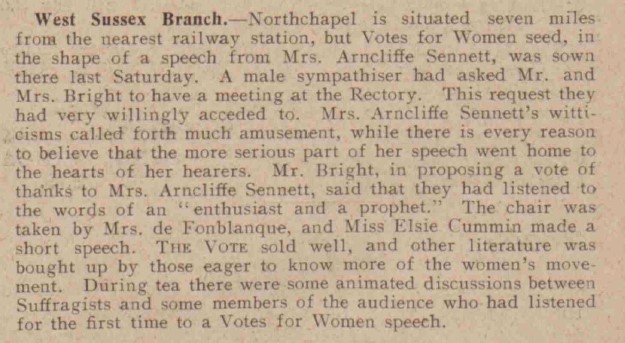 The meeting included a speech by Mrs Arncliffe Sennett and Elsie Cummins made a short speech