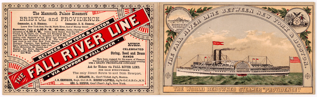 Advertisement for the Fall River Line and the steamboat Providence, the line went between New York and Boston.
