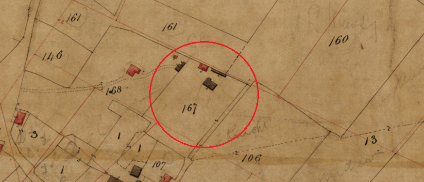 A close up of the Eastergate school house as it appears on the Eastergate tithe map