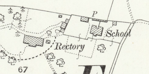 Close up image of the school and rectory as they appear on an ordnance survey map