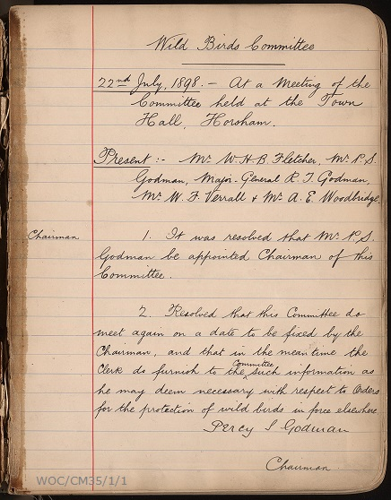 A page from the Wild Birds Committee minute book showing the date, committee members present, and the first two minuted points