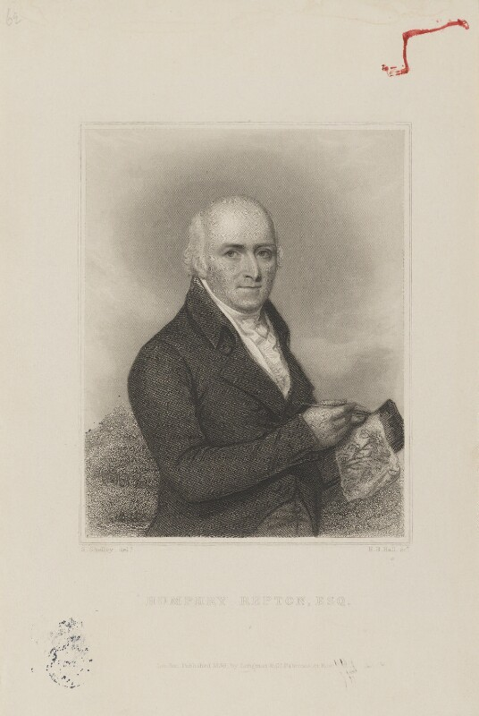 Monochrome drawing of Humphrey Repton in his middle age