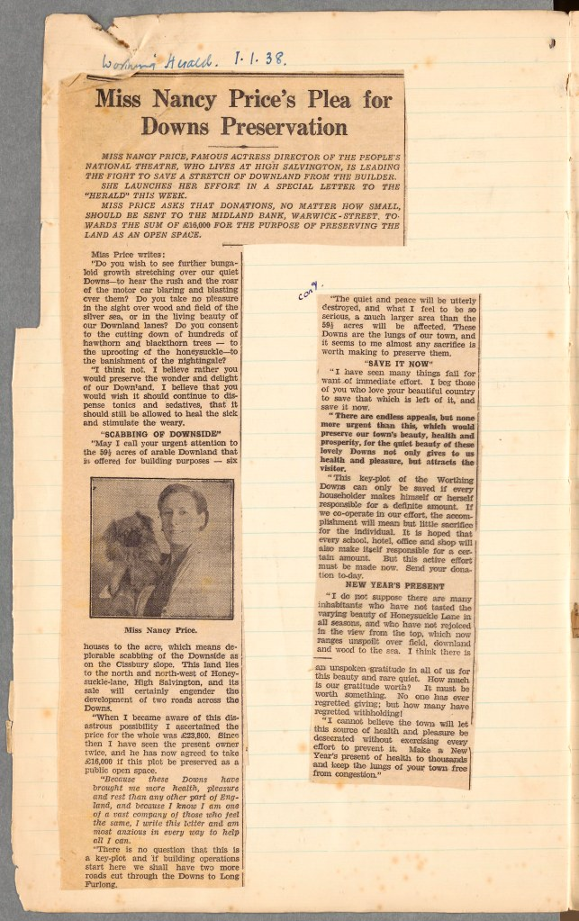 A page from Nancy's scrapbook of South Downs work showing a clipping of the Worthing Herald regarding her plea for South Downs preservation