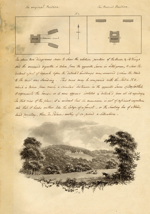 A page from Humphry Repton's Red Book which shows his skill in drawing and explaining his landscaping plans.