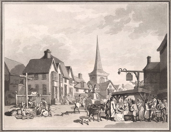 Sepia cartoon showing church spire, donkeys and dogs and carriages, and people at market stalls
