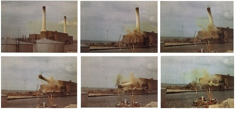 A series of six photographs showing the collapsing of the power station and it's two towers.