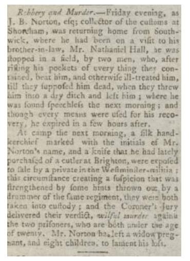 Newspaper article regarding smuggling