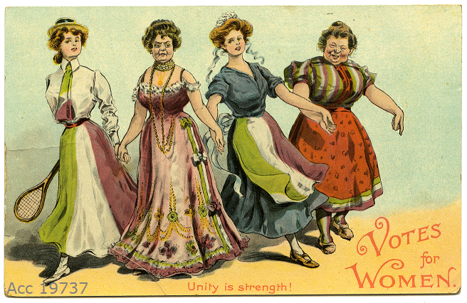 Four women in a line holding hands, wearing purple, green and white clothing. The women are dressed as a tennis player, leisured lady, housemaid and cook.