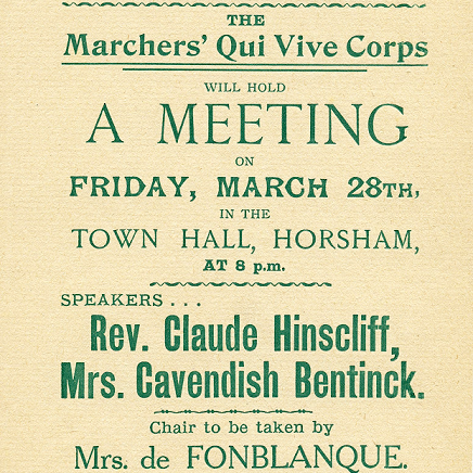 Meeting to be held on March 28th. Speakers advertised as Reverend Claude Hinscliff and Mrs Cavendish Bentinck, with Mrs de Fonblanque in the Chair