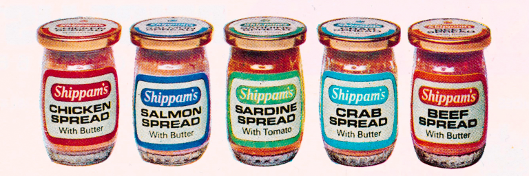 Colour photograph of five jars of Shippam's spread (chicken, salmon, sardine, crab, beef).