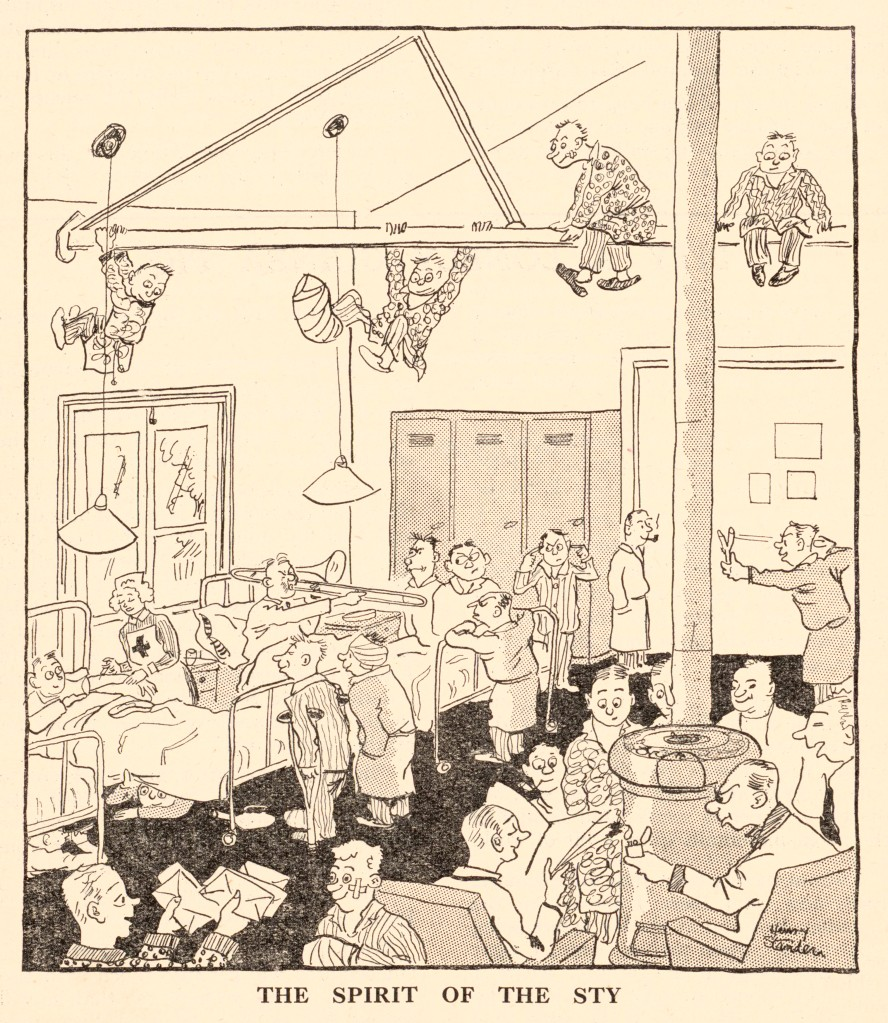 Cartoon shows jovial and active patients in the hospital reading letters and newspapers, playing the trombone, talking to nurses, and playing juvenile games like a slingshot and hanging from the building's rafters