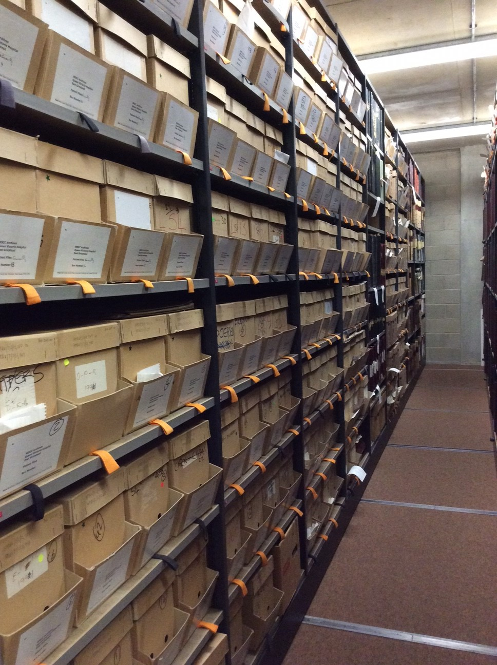 Photo inside Archive Strongroom showing the QVH archive on the shelves